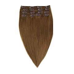 お買い得  人毛エクステンション-Clip In 人間の髪の拡張機能 ウェーブ 7PCS /パック 8本/パック 14 インチ 16 インチ 18 インチ 20 インチ 22 インチ