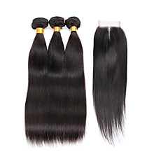ieftine Un pachet de păr-Păr Indian Drept Păr Virgin Umane tesaturi de par 3 pachete cu închidere 8-28 inch Umane Țesăturile de par 4x4 închidere cald Vânzare / 7a Negru Umane extensii de par