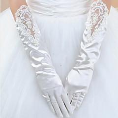Strečový satén K zápěstí Rukavice Pro nevěstu Zimní With Perly