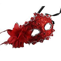 Prinzessin Märchen Maske Unisex Halloween Karneval Silvester Fest / Feiertage Halloween Kostüme Rot Orange Braun Golden Solide Spitze