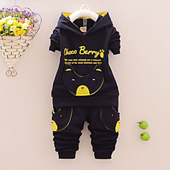 billige Tøjsæt til drenge-Baby Drenge Hund Tegneserie / Bogstaver Trykt mønster Langærmet Bomuld Tøjsæt / Aktiv