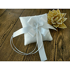 Ivory Ribbons Bow Satin 1 Pieces Ring Pillow Wedding Ceremony