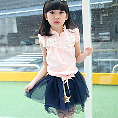 billige Tøjsæt til piger-Pige Tøjsæt Daglig Patchwork, Bomuld Sommer Uden ærmer Folder Blonde Hvid Lys pink