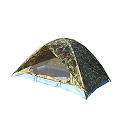 billige Telt og ly-2 personer Telt Dobbelt camping Tent Ett Rom Vanntett Bærbar Vindtett Støvtett Anti-Insekt Sammenleggbar Myggvern Pusteevne til Fisking