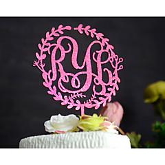 billige Kakedekorasjoner-Kakepynt Personalisert Klassisk Par Monogram Harpiks Akryl Krom Bryllup Jubileum Utdrikkingslag Rosa GulHage Tema Blomster Tema Klassisk