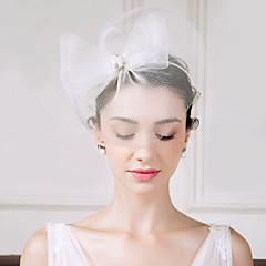 チュール 人造真珠 ラインストーン 羽毛 ヘッドドレス バードケージベール かぶと