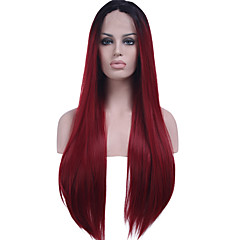 cheap Wigs & Hair Pieces-Synthetic Lace Front Wig Straight Synthetic Hair Ombre Hair / Dark Roots / Natural Hairline Red Wig Women's Long Lace Front