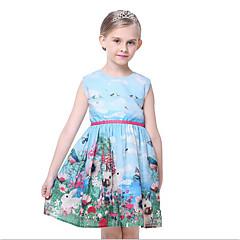 baratos Roupas de Meninas-Menina de Vestido Diário Todas as Estações Algodão Poliéster Sem Manga Floral Azul Claro
