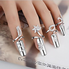 Women's Statement Rings Nail Finger Rings Unique Design Fashion Costume Jewelry Personalized Silver Plated Flower Jewelry (Random)