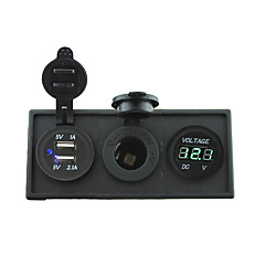 cheap Auto Parts-12V/24V Power charger3.1A USB port and 12V voltmeter gauge with housing holder panel for car boat truck RV(With green voltmeter)