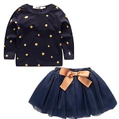 billige Tøjsæt til piger-Pige Tøjsæt Stjerner Vintage Natur, Bomuld Alle årstider Langærmet Sødt Afslappet Aktiv Blå