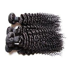 cheap Unprocessed Hair-Remy Human Hair Remy Weaves Curly / Kinky Curly Brazilian Hair 400 g More Than One Year