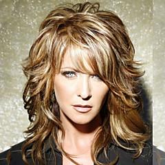 billige Lågløs-Human Hair Capless Parykker Menneskehår Naturligt, bølget hår Frisure i lag Med bangs / pandehår Side del Medium Maskinproduceret Paryk