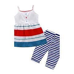 billige Tøjsæt til piger-Pige Tøjsæt Fest Daglig I-byen-tøj Bomuld Polyester Alle årstider Uden ærmer Dyretryk Hvid