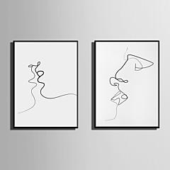 billige Innrammet kunst-Innrammet Lerret Innrammet Sett Abstrakt Mennesker Veggkunst, PVC Materiale med ramme Hjem Dekor Rammekunst Stue Soverom Kjøkken