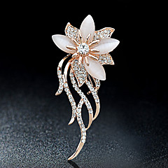 cheap Pins and Brooches-Brooches Rhinestone Floral Flower Style Flowers Rhinestone Alloy Flower Gold Jewelry For Party Casual