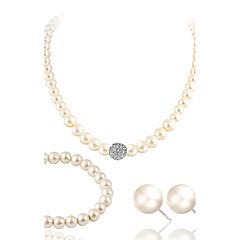 baratos Conjuntos de Bijuteria-Conjunto de jóias - Pérola, Imitação de Pérola, Strass Luxo Incluir Branco Para Casamento / Festa / Casual / Imitações de Diamante