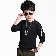 billige Overdele til drenge-Børn Drenge Pænt tøj Ensfarvet Langærmet Bomuld Hættetrøje og sweatshirt