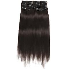 Χαμηλού Κόστους Deluxe Hair-Κουμπωτό Επεκτάσεις ανθρώπινα μαλλιών Ίσιο Εξτένσιον από Ανθρώπινη Τρίχα Φυσικά μαλλιά Γυναικεία - Μαύρο