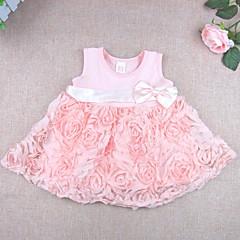 billige Babytøj-Baby Pige Blonde / Rosette Ensfarvet / Blomstret Uden ærmer Bomuld Kjole