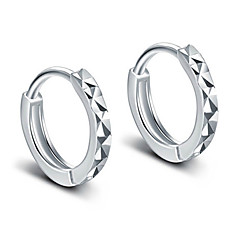 Brincos em Argola bijuterias Elegant Clássico Prata de Lei Formato Circular Jóias Para Festa Diário Casual