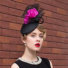 cheap Party Headpieces-Flax Silk Net Fascinators Hats 1 Wedding Special Occasion Outdoor Headpiece