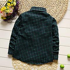 billige Overdele til drenge-Tegneserie / Ternet Daglig / Ferie / I-byen-tøj Patchwork Trykt mønster Langærmet Normal Bomuld Skjorte Grøn 130