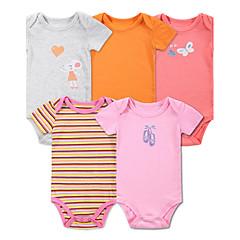 billige Babytøj-Baby Pige Blomster / Tegneserie / Stribet Sport / Ferie / Afslappet / Hverdag Ensfarvet / Stribet / Trykt mønster Kort Ærme Bomuld Bodysuit
