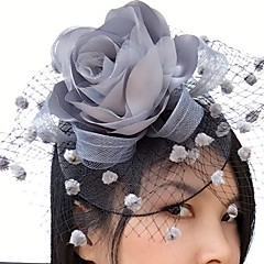 cheap Party Headpieces-Satin Net Fascinators Flowers Birdcage Veils 1 Wedding Special Occasion Casual Headpiece