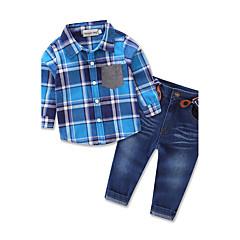 billige Tøjsæt til drenge-Drenge Tøjsæt Fest Daglig I-byen-tøj Ternet, Bomuld Polyester Forår Efterår Alle årstider Langærmet Ternet Blå