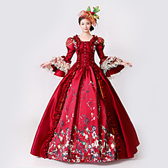Princess Goddess Dress Cosplay Costume Masquerade Ball Gown Women's Rococo Medieval Renaissance Party Prom Christmas Halloween Carnival Festival / Holiday Lace Organza Red Carnival Costumes Plus Size