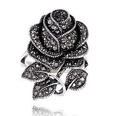 billige Motering-Dame Statement Ring Ring - Strass Blomst Personalisert, Vintage, Kronblader 7 / 8 / 9 Svart Til Fest Spesiell Leilighet Bursdag