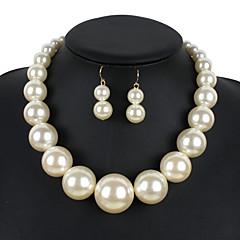 Smykke Sett Euro-Amerikansk Perle Rund Form Svart Sølv Beige Rød Mørkerød 1 Halskjede 1 Par Øredobber TilBryllup Fest Spesiell Leilighet