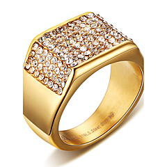 Herre uttalelse Ringe Ring Krystall Mote Punkestil Personalisert Hip-hop Klippe Euro-Amerikansk kostyme smykker Titanium Stål Firkant