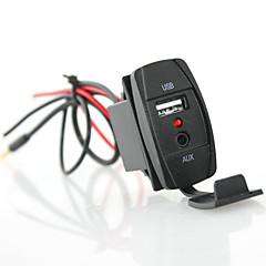 halpa -iztoss rokkari tyyli auton USB-laturi 3.5mm aux - sininen led 2.1a USB pistorasia auton kuorma venetraileri meren
