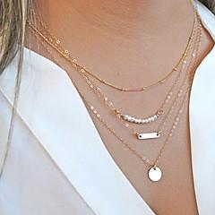 Žene Lančići Igazgyöngy nyaklánc slojeviti Ogrlice Circle Shape Biseri Legura Moda Više slojeva Personalized kostim nakit Jewelry Za