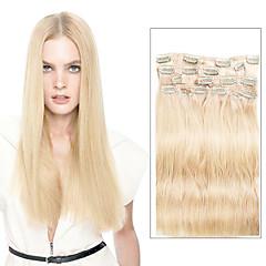 9pcs / set saç uzantıları 16inch 20inch% 100 düz insan saçı içinde lüks 120g # 613 sarışın klibi