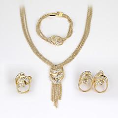baratos Conjuntos de Bijuteria-Mulheres Conjunto de jóias - Strass Fashion, Euramerican Incluir Brincos / pulseira / Colar / anel Dourado Para Casamento / Festa / Aniversário / Anéis
