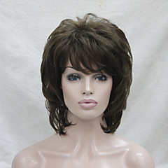 cheap Wigs & Hair Pieces-Synthetic Wig Wavy Layered Haircut / With Bangs Synthetic Hair Brown Wig Women's Medium Length Capless