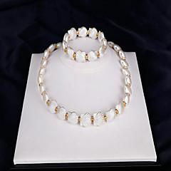 baratos Conjuntos de Bijuteria-Mulheres Conjunto de jóias - Pérola, Concha Fashion Incluir Sets nupcial Jóias Branco Para Casamento Festa Ocasião Especial