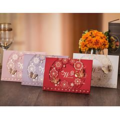 baratos -Dobrado no Topo Convites de casamento-Cartões de convite Estilo Flôr Estilo Borboleta Papel de Cartão Papél de Alta Qualidade Cartão de