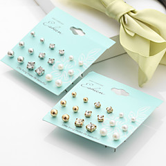 Women's Stud Earrings Imitation Pearl Rhinestone Basic Multi-ways Wear Costume Jewelry Imitation Pearl Alloy Round Ball Jewelry For
