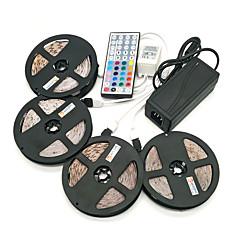 billiga Dekorativ belysning-ZDM® 4x5M Ljusuppsättningar 1200 lysdioder SMD 2835 1 12V 6A-adapter / 1 44Kör fjärrkontrollen / 1x 1 till 4 kabelanslutning RGB Vattentät / Klippbar / Självhäftande 100-240 V / 12 V / IP65