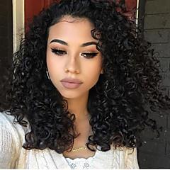 billiga Peruker och hårförlängning-Syntetiska snörning framifrån Lockigt Syntetiskt hår Naturlig hårlinje Svart Peruk Dam Mellan Spetsfront