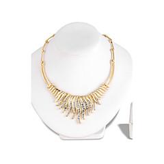baratos Conjuntos de Bijuteria-Mulheres Strass Conjunto de jóias 1 Colar 1 Par de Brincos - Euramerican Fashion Irregular Dourado Conjunto de Jóias Colar Para Casamento