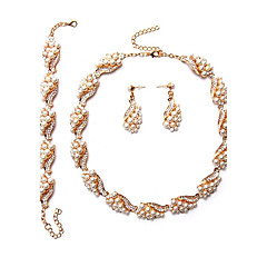 baratos Conjuntos de Bijuteria-Mulheres Conjunto de jóias - Pérola Euramerican Incluir Sets nupcial Jóias Dourado Para Casamento Festa Ocasião Especial
