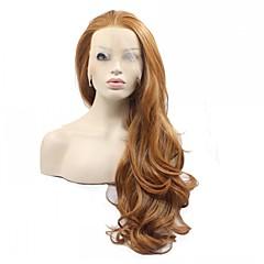 Χαμηλού Κόστους Συνθετικές περούκες με δαντέλα-Συνθετικές Περούκες Φυσικό Κυματιστό Συνθετικά μαλλιά Περούκα Γυναικεία Πλήρης Δαντέλα Καστανοκόκκινο