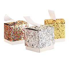 cheap Favor Holders-Round Square Cubic Card Paper Favor Holder with Ribbons Printing Favor Boxes - 25