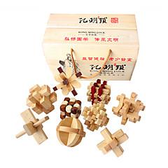 baratos -Quebra-Cabeças de Madeira Quebra-Cabeças Inteligentes Quebra-Cabeça Kong Ming Teste de QI De madeira Unisexo Para Meninos Para Meninas Brinquedos Dom
