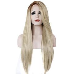 billiga Peruker och hårförlängning-Syntetiska snörning framifrån Rak Med lugg Syntetiskt hår Ombre-hår / Naturlig hårlinje / Sidodel Blond Peruk Dam Lång Naturlig peruk /